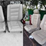fotel w aucie przed i po renowacji